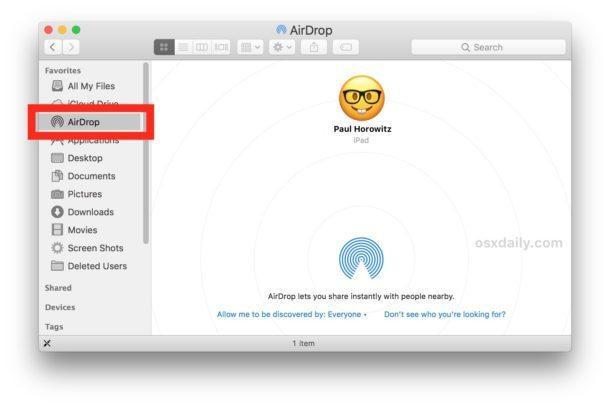 Accedi a AirDrop su Mac