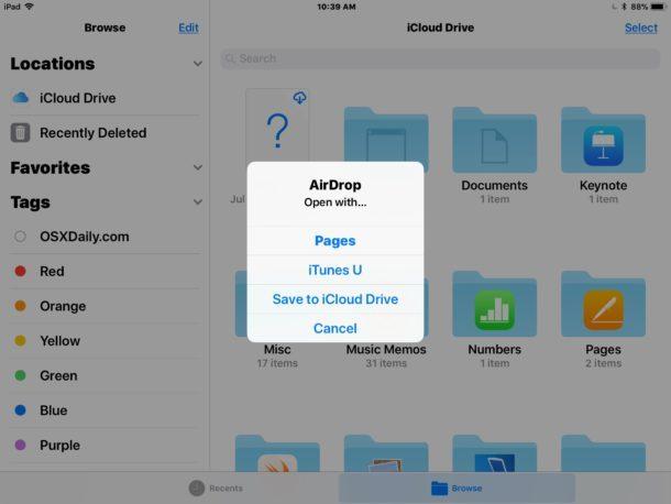 Ricezione di file AirDrop da Mac a iPad e iPhone come file