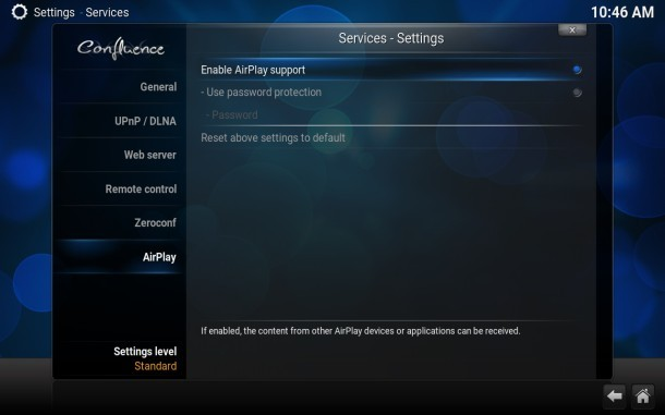 Abilita il supporto AirPlay nel player Kodi TV