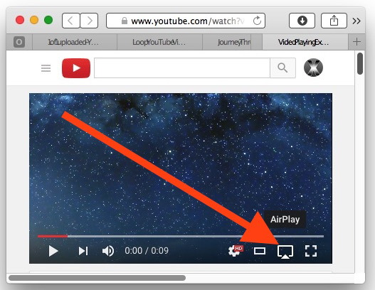 Scegli AirPlay su un VIdoe di YouTube