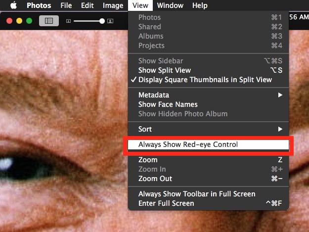 Mostra sempre lo strumento per la rimozione degli occhi rossi in Photos per Mac