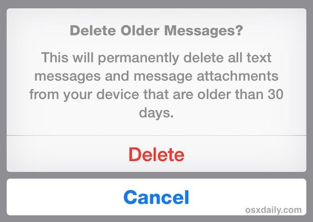 Conferma per eliminare i vecchi messaggi su iPhone