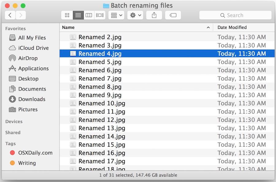 Batch ha rinominato i file in Mac OS X dopo aver eseguito lo strumento Finder Rename Item