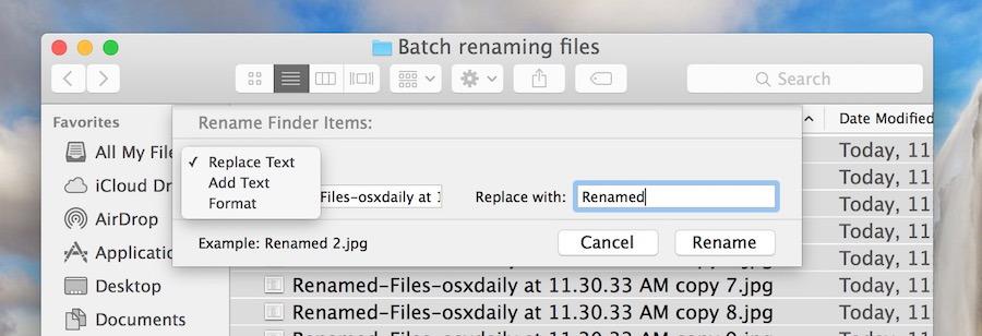 Altri modificatori di file di ridenominazione batch in Mac OS X