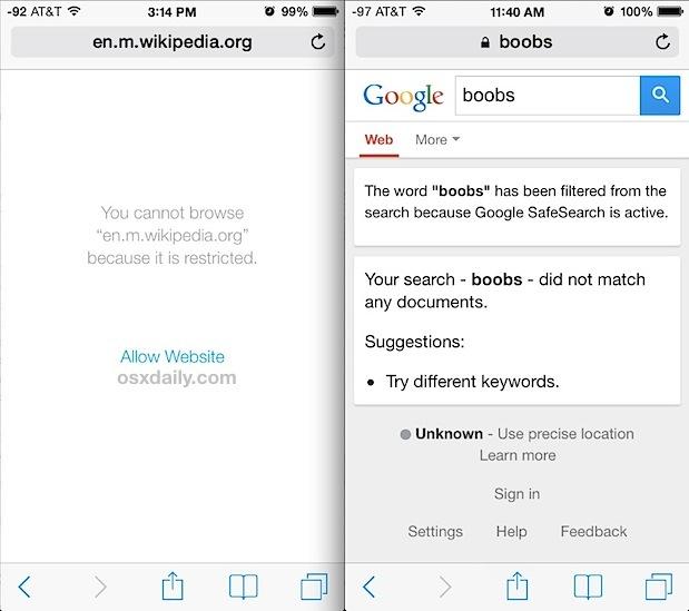 Accesso bloccato a contenuti per adulti sul Web con restrizioni iOS