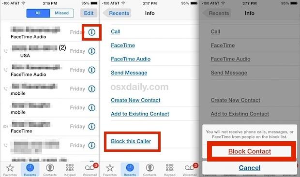 Blocca chiamate e messaggi di contatto su iPhone