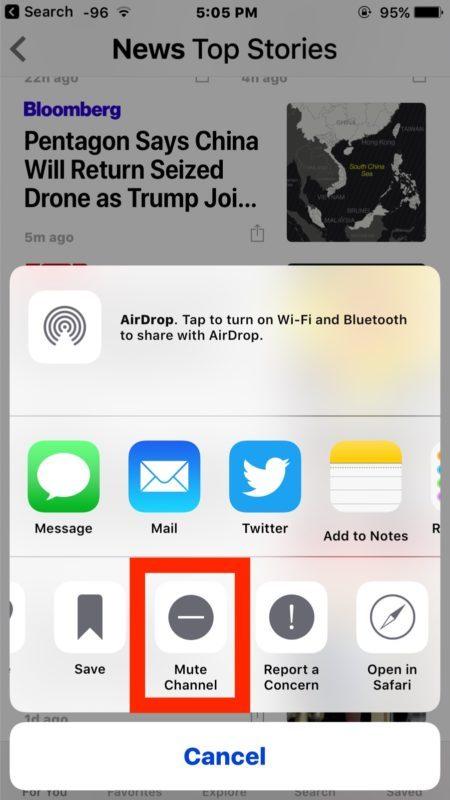 Disattiva l'audio di una fonte di notizie in Apple News per nascondere e bloccare la visualizzazione di tale fonte di notizie nei feed