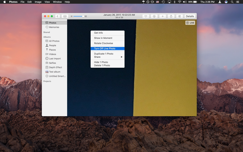 Disattiva Foto dal vivo su Mac