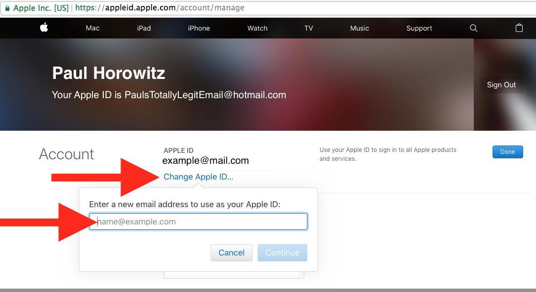 Modifica di un indirizzo email ID Apple