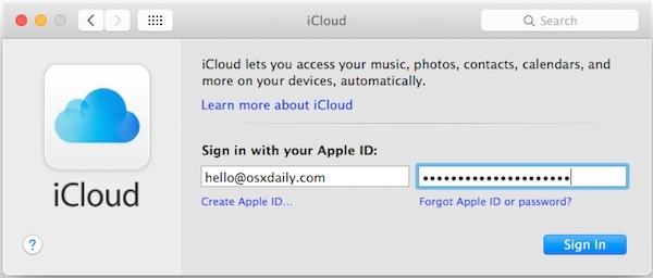 Accedi a un nuovo ID Apple su Mac OS X.