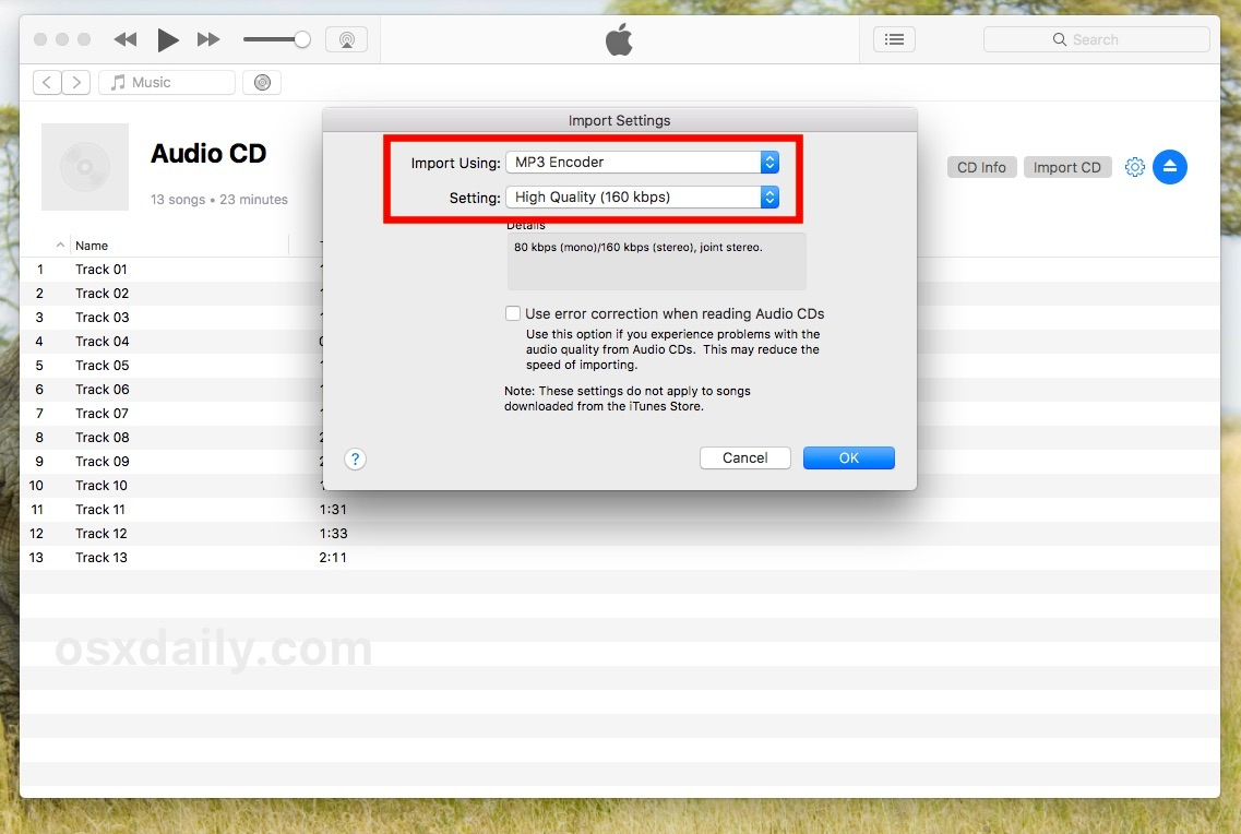cambia le impostazioni di importazione audio e il codificatore audio e la qualità in iTunes