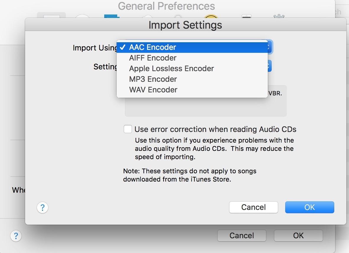 Cambia le impostazioni di importazione audio in iTunes per l'audio codificatore e la qualità audio