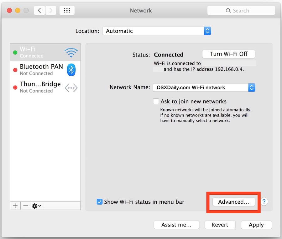 Accesso alle impostazioni DNS nel pannello delle preferenze di rete di Mac OS X