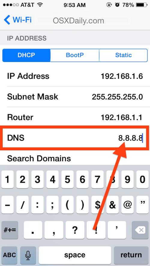 Imposta i server DNS su un iPhone