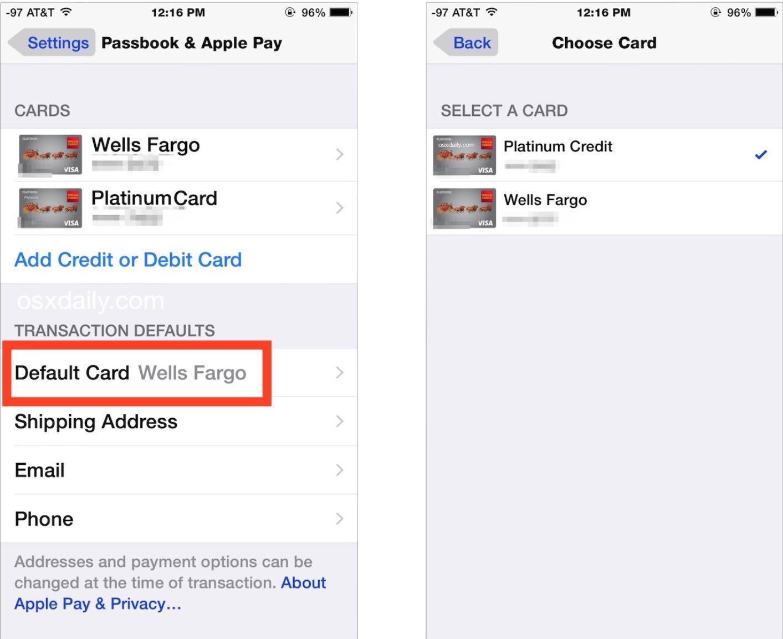 Cambia la carta predefinita utilizzata per gli acquisti Apple Pay su iPhone