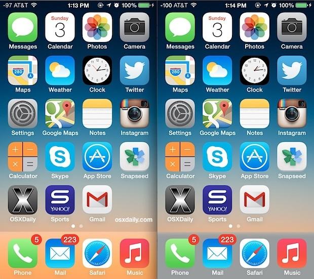 Colore del dock modificato con iOS 7 che mostra la differenza