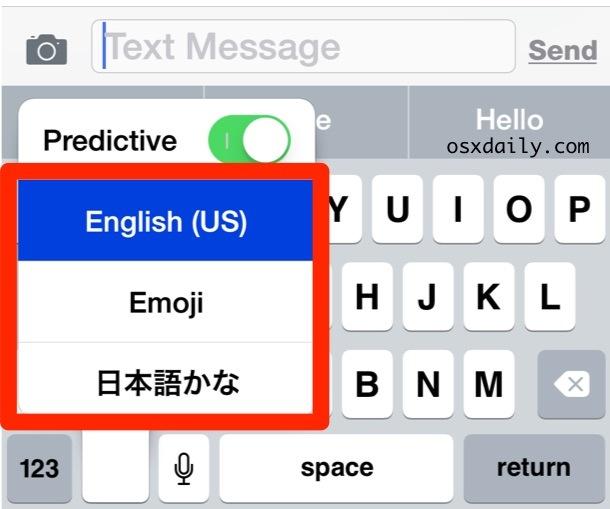 Seleziona la tastiera della lingua desiderata da utilizzare in iOS