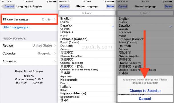 Come cambiare la lingua utilizzata su iPhone