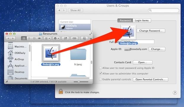 Trascina e rilascia un'immagine per cambiare il profilo di un utente Mac