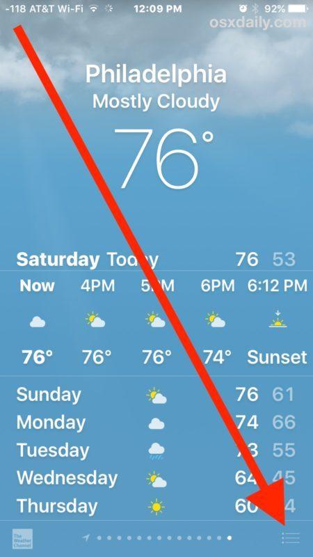 Come modificare i gradi meteorologici nell'app Meteo per iPhone
