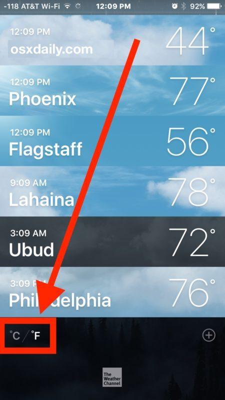 Attiva o disattiva la modifica del tempo da Celsius a Fahrenheit o viceversa nell'app Meteo per iPhone