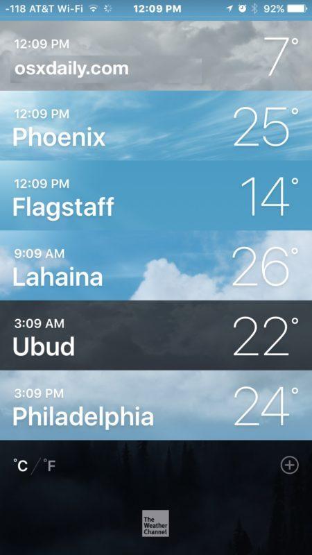 Meteo in Celsius invece di Fahrenheit su iPhone
