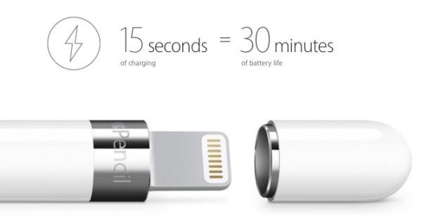 Il tempo di ricarica della batteria di Apple Pencil è veloce
