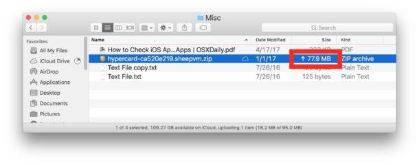 Visualizzazione elenco L'ordinamento delle dimensioni mostra lo stato di caricamento di iCloud Drive