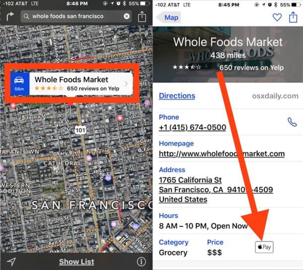 Controlla uno store per l'assistenza Apple Pay in Maps per iOS