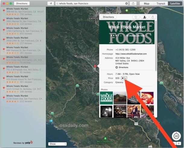 Controlla uno store per l'assistenza Apple Pay nell'app Mac OS X Maps