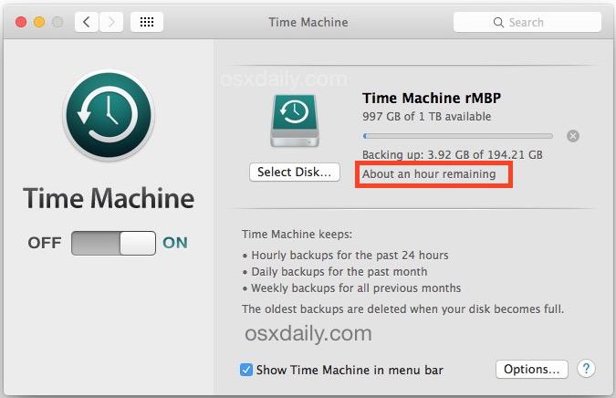 Controlla il tempo rimanente di un backup di Time Machine in Mac OS X
