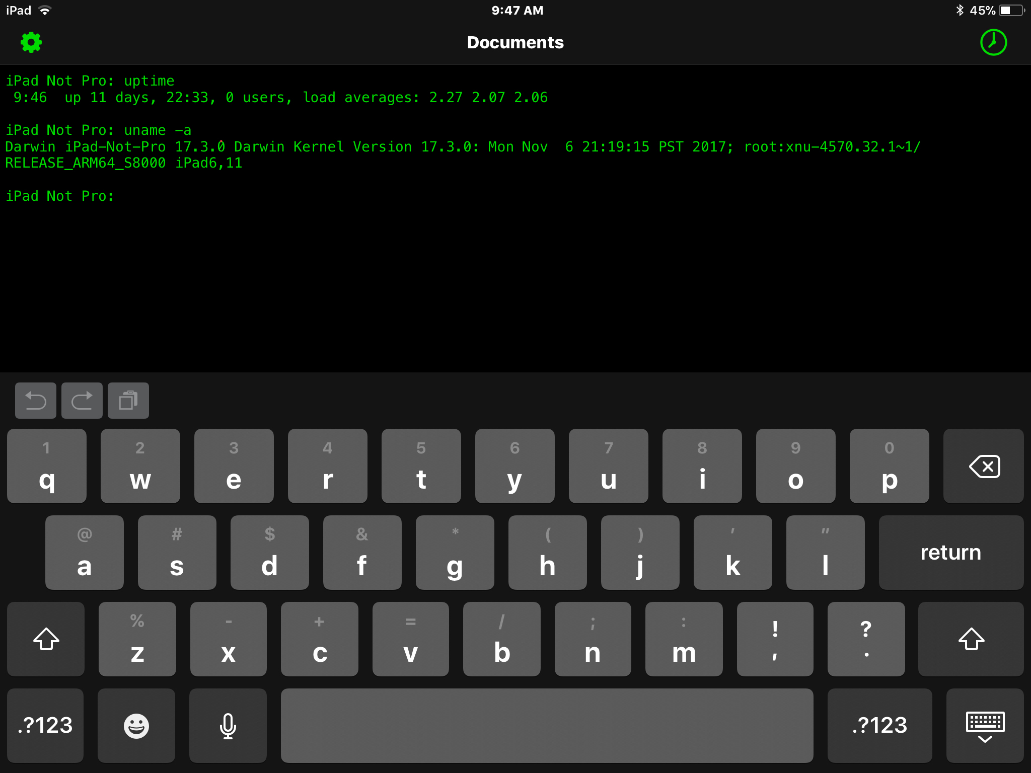 Ottieni uptime da OpenTerm in iOS