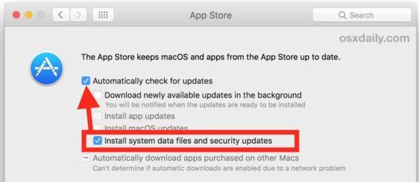 Assicurati che importanti aggiornamenti di sicurezza vengano installati su un Mac