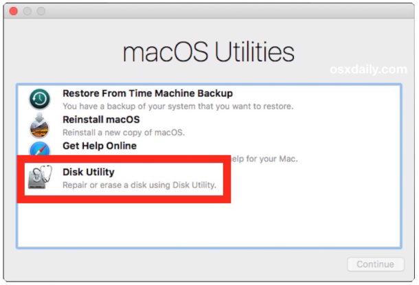 Scegli Utility Disco per cancellare il disco rigido per l'installazione pulita di MacOS High Sierra