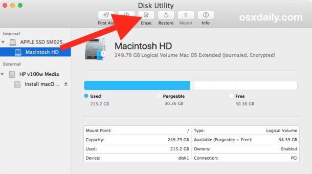Cancellare il disco rigido per eseguire un'installazione pulita di MacOS High Sierra