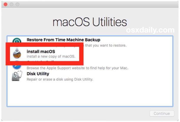 Eseguire un'installazione pulita scegliendo Installa MacOS
