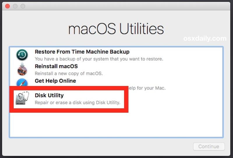 Scegli Utility Disco per cancellare il Mac