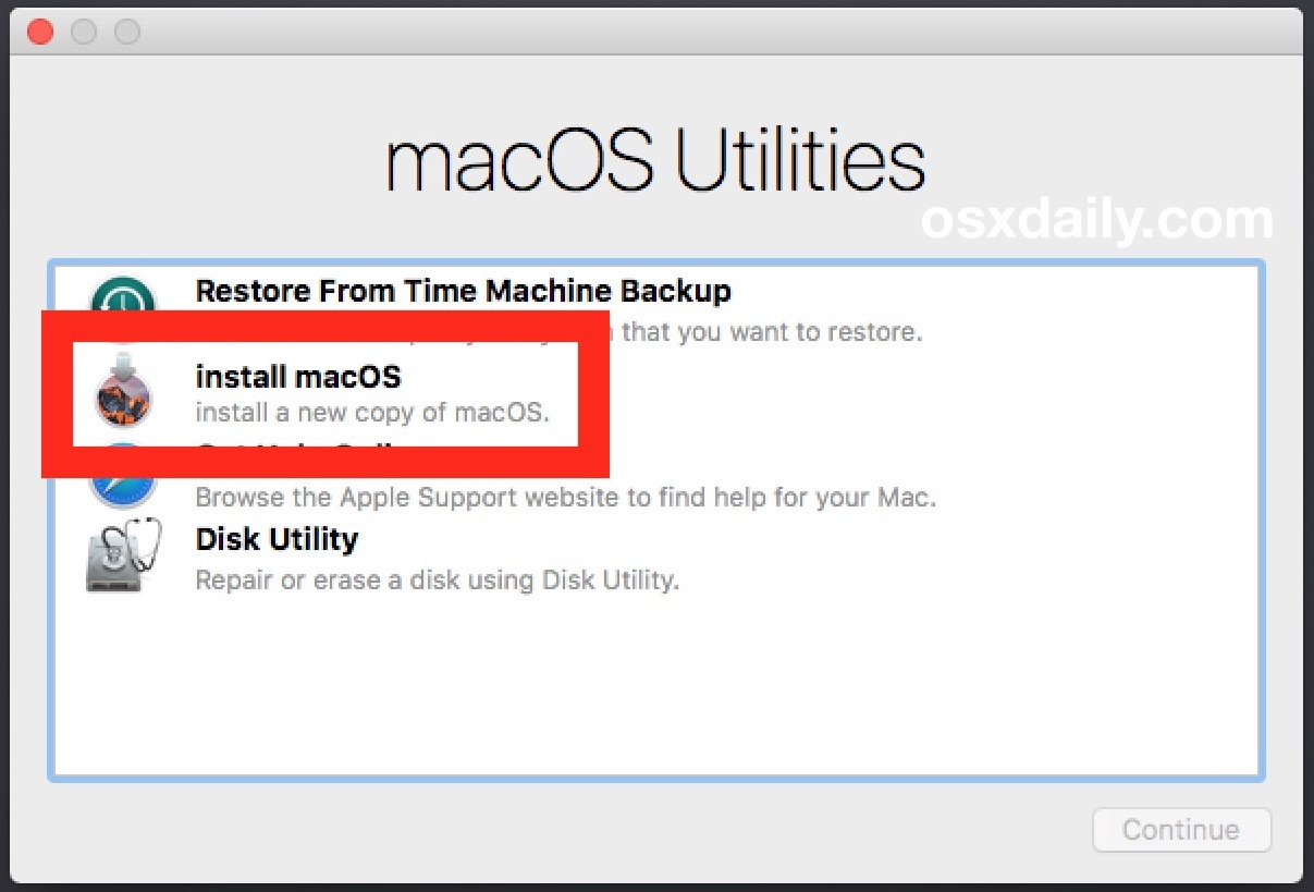 Scegliere di pulire l'installazione di macOS Sierra
