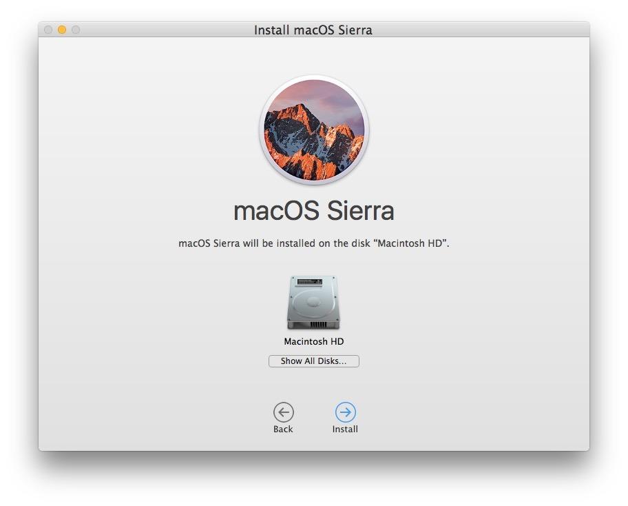 Scegli Macintosh HD come disco di destinazione per pulire l'installazione di macOS Sierra