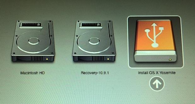 Avvio da OS X Yosemite Installare l'unità per avviare il processo di installazione pulita