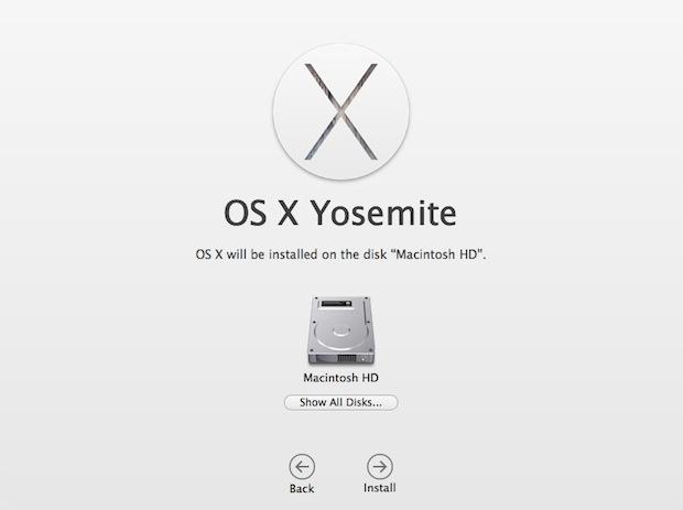 Inizia l'installazione pulita di Yosemite su un Mac
