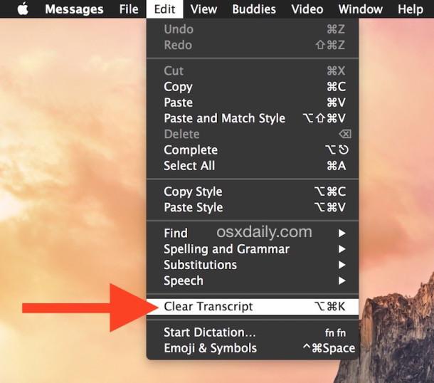 Trascrizione chiara e registro chat da Messaggi in Mac OS X