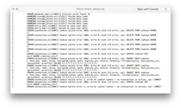 Esempio di file di registro Mac