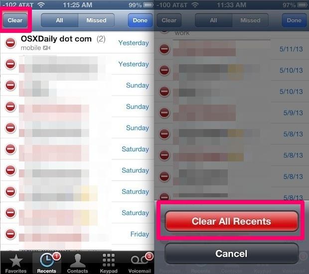 Cancella tutti gli elementi dalla cronologia delle chiamate su iPhone