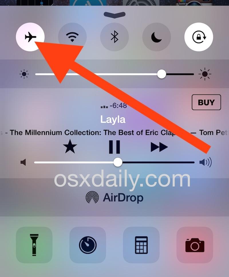 Svuota la cache DNS su iPhone attivando e disattivando la modalità aereo