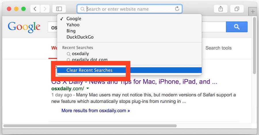 Cancella la cronologia delle ricerche in Safari in OS X Yosemite