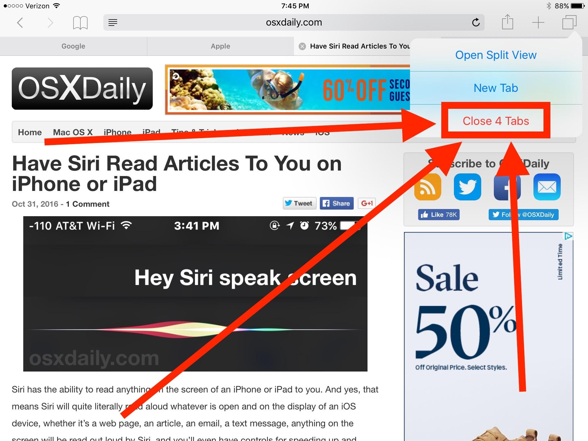 Come chiudere tutte le schede in Safari per iOS