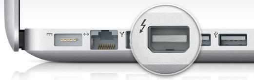 La porta di uscita video Thunderbolt mostrata su un MacBook Pro