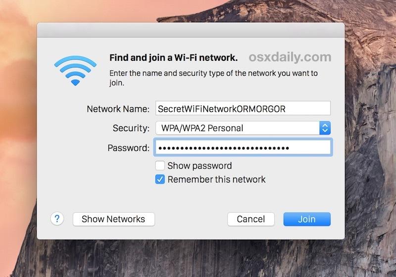 Unire un router wireless nascosto da Mac OS X specificando l'SSID non broadcast