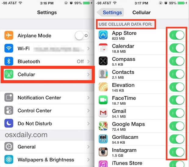 Controlla quali app possono utilizzare i dati cellulari in iOS
